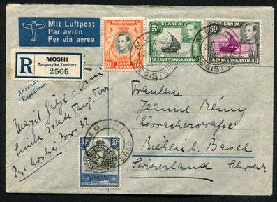 24.9.1938 Moshi, R-Brief mit IMPERIAL AIRWAYS über Mwanza (Viktoriasee)-Kairo mit rückseitigem Transitstempel von Tanga (Ostküste), sowie Brindisi (Umlad), Bahnstempel Pescara-Milano und Riehen vom 3.10.1938.