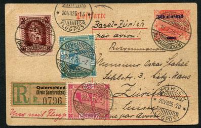 """19.7.1925 Quierschied, frühe R-Karte für die IMPERIAL AIRWAYS-Linie London-Paris-Basel-Zürich, Flugpostaufgabestempel von Basel sowie AKSt. """"Zürich Flugpost""""."""