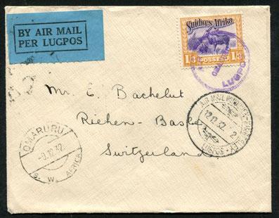 """12.12.1932 Omaruru, Flugpost Windhoek-Kimberley mit Sonderstempel rückseitig """"Windhoek 10.12.1932"""". Weiterleitung per Schiff und Bahn, da keine weiteren Stempel vorhanden sind."""