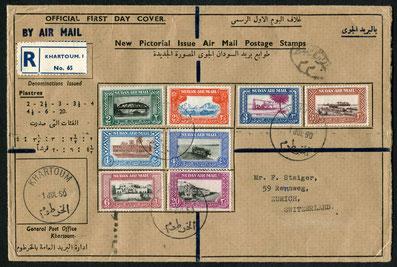 """1.7.1950 Khartoum, Ersttag der neuen Flugpostserie, geflogen über Kairo, rückseitig Stempel """"Aeroport Farouk"""" vom 5.7. und """"Zürich 1"""" vom 6.7.1950. Die britische Handley Page """"HER;MES"""" war in den Fünfzigerjahren auf den Afrikalinie der BOAC eingesetzt bis"""