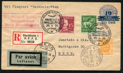 26.6.1929 Stockholm, R-Ganzsache Stockholm-Stettin-Berlin-(Wien) mit ABA/DLH, Umlad und mit DLH/AD ASTRA via Leipzig-Stuttgart bis Zürich, weiter mit AD ASTRA nach Bern.