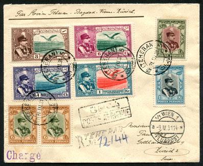 31.3.1931 Teheran, R-Beleg der KLM-Fernostlinie via Bagdad-Kairo-Athen-Wien (Umlad)-Zürich mit DONAU-EXPRESS der SWISSAIR, rückseitig Transitstempel von Bagdad sowie AKSt. von Zürich vom 11.4.1931.