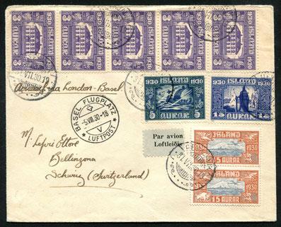 31.12.1930 Reykjavik, bis 1945 bestanden keine regelmässigen Flugpostverbindungen mit Nordeuropa. Alle Flugpost wurde per Schiff über Norwegen/Dänemark oder GB spediert und dort den bestehenden Fluglinien übergeben.