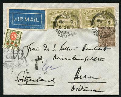 6.12.1931 Bombay, nachtaxierter Brief nach Bern ab Bombay via Calcutta-Karachi.
