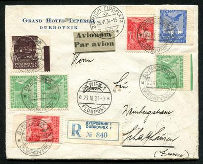 20.6.1934 Dubrovnik, R-Flugpostfrankatur Dubrovnik-Ljubliana-Wien mit AEROPUT/AF und Wien-München-Zürich mit SWISSAIR-Expresslinie.