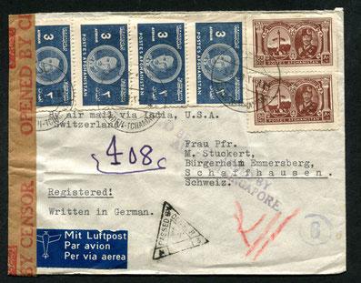 25.10.1939/3.8.1941 Kabul R-Brief mit britischer Zensur, rückseitig Transitstempel von Calcutta/Si17.7.1934 Kairo, R-Beleg mit Imperial Airways bis Brindisi, Weiterleitung per Bahn, rückseitig Transit-Bahnstempel von Brindisi und Mailand, AKSt. Bern 23.7.