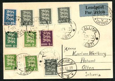 """10.5.1932 Tallin, Flugpostkarte Königsberg-Berlin-Zürich-Basel mit DERULUFT/DLH/SWISSAIR. Transitstempel """"Berlin C L 2"""" und Basel Flugplatz Luftpost 12.5.1932-19."""