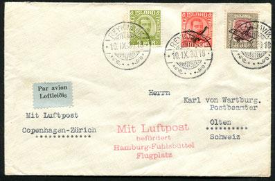 10.9.1930 Reykjavik,Bis 1945 bestanden keine regelmässigen Flugpostverbindungen mit Nordeuropa. Alles Flugpost wurde per Schiff über Norwegen/Dänemark oder GB spediert und dort den bestehenden Fluglinien übergeben.