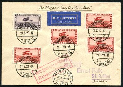 21.5.1929 Saarbrücken, Erstflugbeleg der DLH/Farman-Linie Paris-Saarbrücken-Frankfurt-Berlin mit Anschlusspost bis Karsruhe. Weiterleitung Karlsruhe-Stuttgart-Zürich mit DLH/AD ASTRA und BALAIR bis St. Gallen möglich.