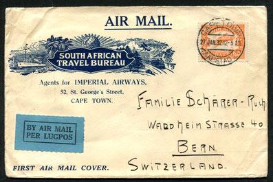 """27.1.1932 Kapstadt, Erstflug der IMPERIAL AIRWAYS-Linie Kapstadt-Nairobi-Alexandria-Brindisi-London. Rückseitig Transitstempel """"Paris Avion 16.2.1933"""", Weiterleitung in die Schweiz per Bahn."""