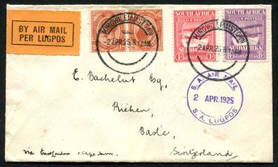 """2.4.1925 Kingwilliamstown, Flugbeleg für die interne- am 2.3.1925 eröffnete Linie Durban-East London-Kapstadt, blauer Flugpoststempel und rückseitiger AKSt. """"Riehen 22.4.1925"""", weiter an Kapstadt per Schiff/Bahn."""