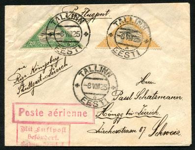 8.8.1925 Tallin, Flugpostfrankatur via Riga-Königsberg-Berlin (seit 1923 möglich). Weiterbeförderung Berlin-Frankfurt-Stuttgart mit DAL (DEUTSCHER AERO LLOYD), roter Flugpostbestätigungsstempel.