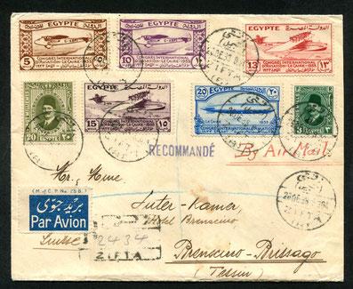 26.12.1933, R-Brief mit kompletter Serie vom internat. Luftfahrtkongress in Kairo. Auf der 1931 eröffneten Imperial Airways Linie Alexandria-Athen-Brindisi-Paris-London bis Brindisi per Flugpost befördert. Weiter per Bahn in die Schweiz, rückseitig Transi