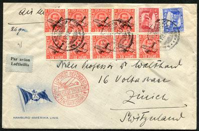 """8.7.1933 Reykjavik, Flugpostfrankatur, mit Schiff nach Hamburg und mit DLH/SWISSAIR über Berlin nach Zürich. Rückseitig Transitstempel """"Berlin C 2 13.7.1933"""""""