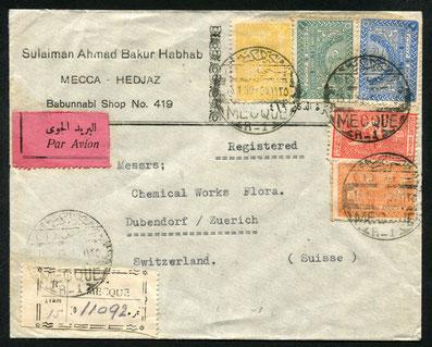 15.1.1939 Hedschas, R-Beleg ab Mekka mit rückseitigem Transitstempel von Dsc26.4.1940 Aden (Englische Kolonie), Zensurbeleg zweifach, in Aden und Ägypten kontrolliert.  Leiweg über Djibouti ( Franz. Somaliland) - Suez - Alexandria - Italien in die Schweiz