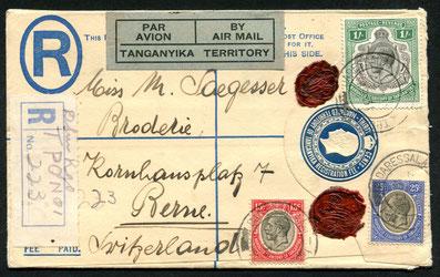 23.5.1931 Daressalam, R-Beleg mit Bahnpoststempel Dar es Salaam-Kigoma, für die am 10.3. eröffnete IMPERIAL AYRWAYS-Linie Mwanza-Kairo-London, rückseitig Transitstempel von Mwanza und Kairo Par Avion, Weitebeförderung unklar, wäre auf dieser Linie bis Ath