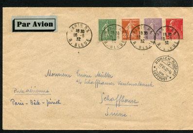 """16.6.1932 Paris, Flugbeleg Paris-Basel-Zürich mit der IMPERIAL AIRWAYS-Linie ab London oder CIDNA/SWISSAIR möglich. Rückseitig Stempel """"Paris Gare du Nord Avion""""."""