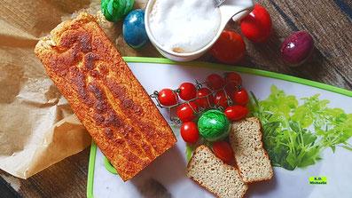 Rezeptvorstellung Dinkel-Dreams 2 von K.D. Michaelis für eine superschnell selbstgebackene mehlfreie kohlenhydratarme Brot-Alternative/Brot-Ersatz