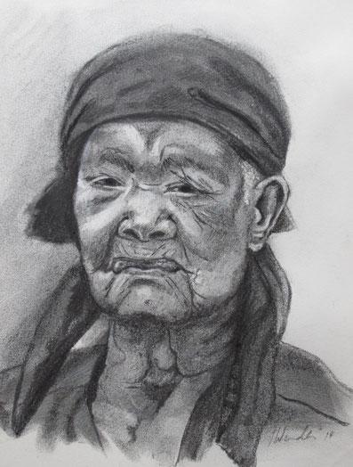 Portrait, Kohle, alte Frau, Gesicht, Mensch, gezeichnet, Zeichnung