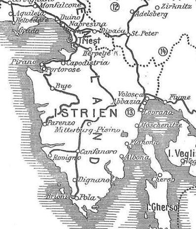 Historische Karte aus dem Jahr 1910