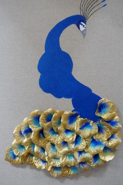pétales et plumes tableau paon: univers emylila