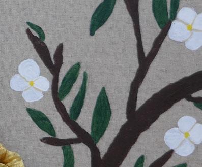 branches et fleurs tableau paon: univers emylila