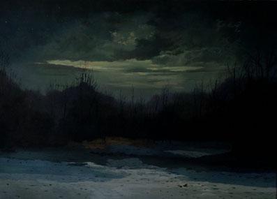 """Martin Guido Becker """"Winternacht"""", 2015, Öl/Lwd, 50/70 cm"""