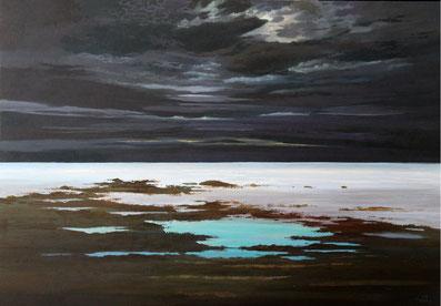 """Martin Guido Becker, """"Dorf"""" 2015, Öl/Lwd, 70/100 cm"""