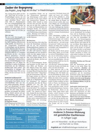 """Zeitungsartikel im """"Friedrichshagen Konkret"""", Ausgabe: November 2017, Seite 8, Friedrichshagener Projekte/Anzeigen, Artikel: Zauber der Begegnung: Das Projekt """"Jung fragt Alt im KIEZ """" in Friedrichshagen"""