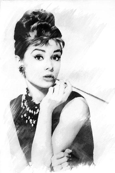 elaborazione-fotografica-photoshop-bianco-nero-ritratto-Colazione da Tiffany-AudreyHepburn