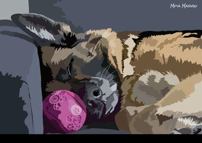 disegno-drawing-portrait-ritratto-realistico-german shepherd-cane-dog-digital-art-pastore-tedesco-ritratto-sdraiato-divano-dorme-palla-naso