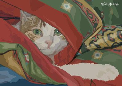 disegno-drawing-gatto-cat-portrait-tigrato-rosso-nascosto-sotto-coperta-illustrazione-vettoriale-digital-art