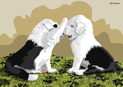 disegno-drawing-bobtail-cane-dog-digital-art-cuccioli-giocano-seduti-difronte-two-puppy-play