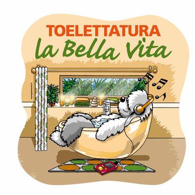 disegno-drawing-bobtail-cane-dog-illustrazione-vasca-da-bagno-vetrofania-toelettatura-la-bellavita-tavagnacco-udine