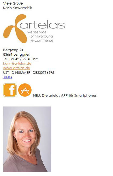 E-Mail Signatur Beispiel artelas Werbeagentur, Karin Kowarschik