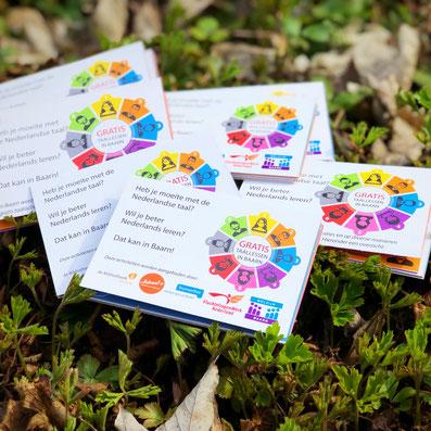gevouwen flyer A7, 4 vouw, zigzag, heldere kleuren, lokaal 0, Baarn, Humanitas