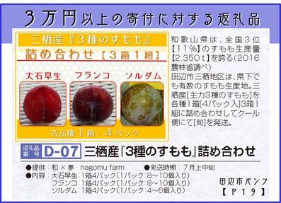 田辺市 ふるさと納税  三栖産『3種のすもも』詰め合わせ  和×夢 nagomu farm
