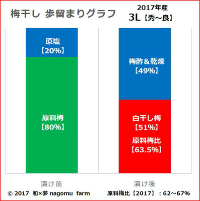 南高梅【梅干し歩留まり】グラフ 和×夢 nagomu farm
