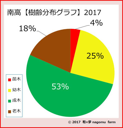 南高樹齢分布グラフ【2017】 和×夢 nagomu farm