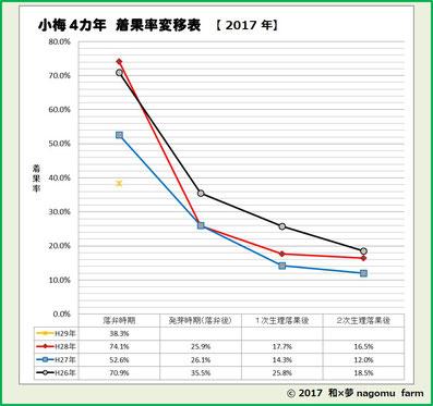 小梅4カ年 着果数変移表【2017】 和×夢 nagomu farm