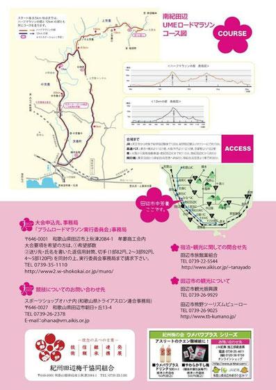 南紀田辺UMEロードマラソン【2016】パンフ裏