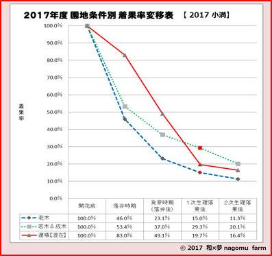 樹齢別着果数推移【2017】 和×夢 nagomu farm