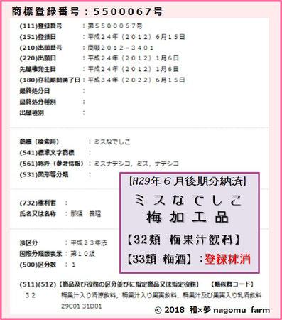 ミスなでしこⓇ【梅加工品】商標登録 和×夢 nagomu farm