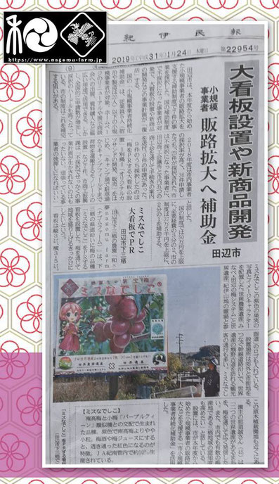紀伊民報記事掲載【2019.1.24】ミスなでしこ 大看板でPR