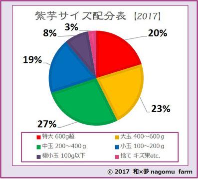 紫芋【2017】 サイズ分布表  和×夢 nagomu farm
