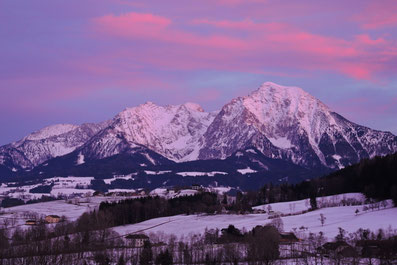 Großer und Kleiner Pyhrgas im Abendrot beleuchteten Wolken, Region Pyhrn Priel, Windischgarsten, Roßleithen, Oberösterreich