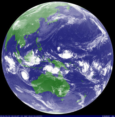 Colourised satellite image of Tropical Cyclone Marcus, 22/03/2018. Image from JMA.