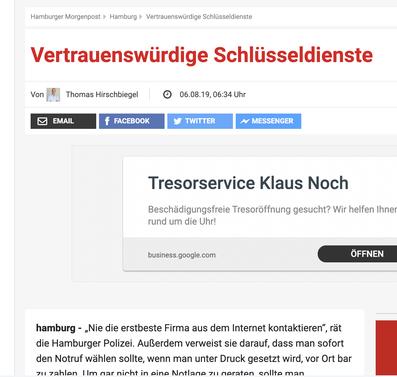 AOS Schlüsseldienst Hamburg Morgenpost