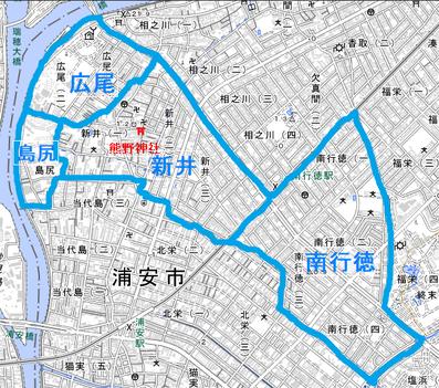 ※この地図は現在の4つの町の位置を示すもので、正確な氏子地域を表すものではありません。南行徳にはもともと欠真間だった地域も含まれているため、熊野神社の氏子地域には入らないところもあります。また、相之川三丁目・四丁目の一部にも以前は氏子地域だったところがあります。