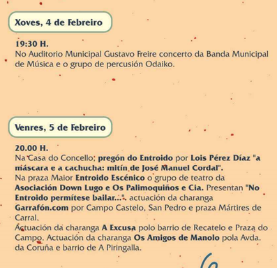Programa del Entroido de Lugo Carnaval 2016